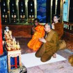 เจ้าพระคุณสมเด็จฯ เสด็จที่บ่อน้ำมนต์ สมเด็จพระพุฒาจารย์ (โต พฺรหฺมรํสี) ภายในเจดีย์วัดอินทรวิหาร บางขุนพรหม กรุงเทพฯ